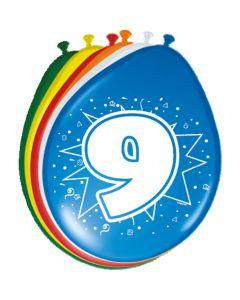 Leeftijdballonnen 9 Jaar 8 Stuks
