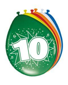 Leeftijdballonnen 10 Jaar 8 Stuks