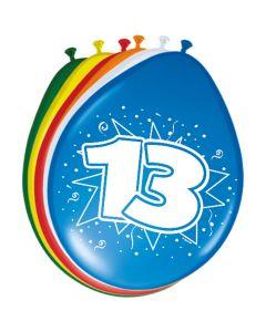 Leeftijdballonnen 13 Jaar 8 Stuks