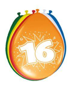 Leeftijdballonnen 16 Jaar 8 Stuks