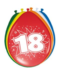 Leeftijdballonnen 18 Jaar 8 Stuks