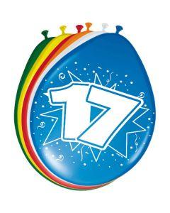 Leeftijdballonnen 17 Jaar 8 Stuks