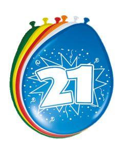 Leeftijdballonnen 21 Jaar 8 Stuks