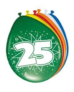 Leeftijdballonnen 25 Jaar 8 Stuks