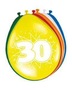 Leeftijdballonnen 30 Jaar 8 Stuks