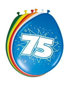 Leeftijdballonnen 75 Jaar 8 Stuks