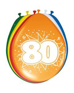 80 jaar ballonnen 8 Stuks