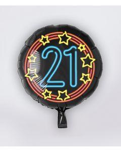 NEON Folie Ballon 21 jaar