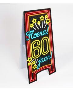 Neon Warning-Sign ( pas op ) 60 jaar
