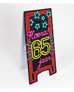 Neon Warning-Sign ( pas op ) 65 jaar