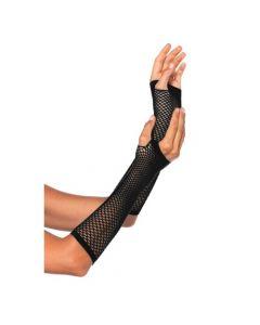 Vingerloze Visnet Handschoenen Lang Zwart