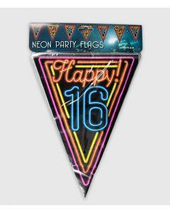16 Jaar Neon Vlaggenlijn - 10 Mtr