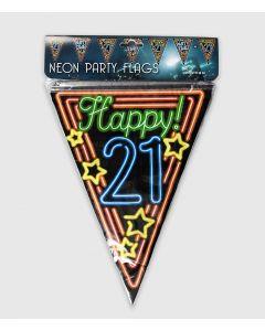 21 Jaar Neon Vlaggenlijn - 10 Mtr