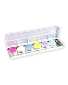 Aqua facepaintpalet pastel (6 kleuren)