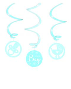 Geboorte Swirl Decoratie Blauw - It's A Boy