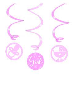 Geboorte Swirl Decoratie Roze - It's A Girl