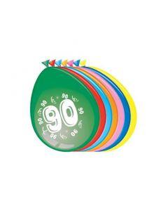 Leeftijdballonnen 90 Jaar 8 Stuks