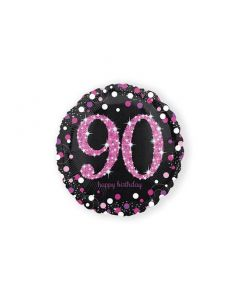 Folieballon Verjaardag 90 Jaar Roze