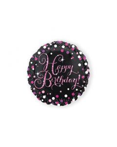 Folieballon Happy Birthday Glitter Roze