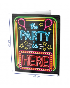 NEON Raambord ( Window-sign ) The party is here